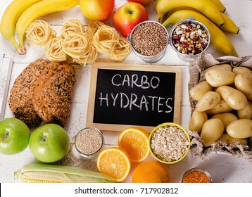 Foods Highest in Carbohydrates. Healthy diet eating concept.