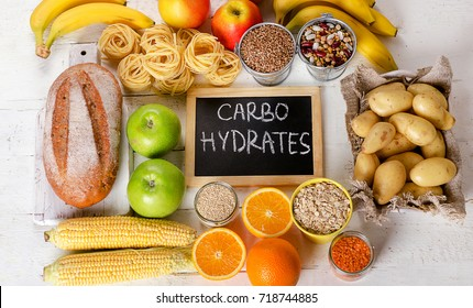 Foods Highest in Carbohydrates. Healthy diet eating concept. Flat lay