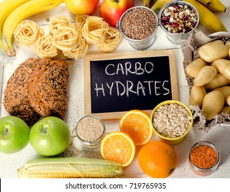 Foods Highest in Carbohydrates. Healthy diet food concept. Flat lay