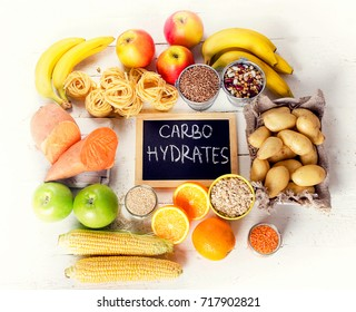 Foods Highest in Carbohydrates. Healthy eating concept. Flat lay
