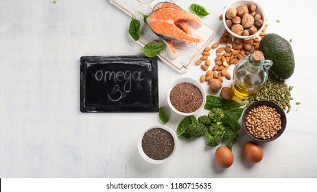 Foods Highest in Omega 3 Fatty Acids. Top view with copy space
