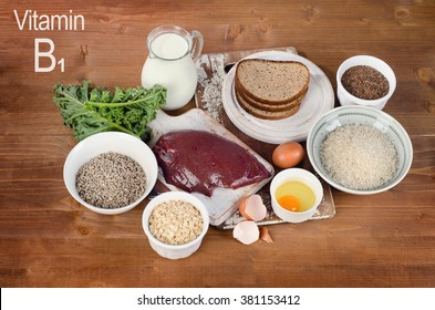 Foods Highest in Thiamin (Vitamin B1). Top view