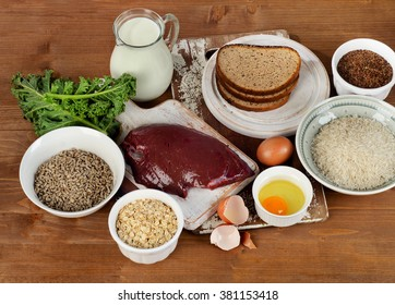 Foods Highest in Thiamin (Vitamin B1) on a wooden background. Top view