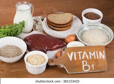 Foods Highest in Thiamin (Vitamin B1). Selective focus