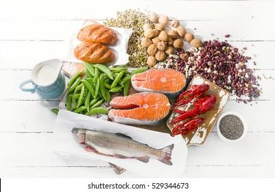 Foods Highest in Vitamin B1. Healthy diet eating. Flat lay