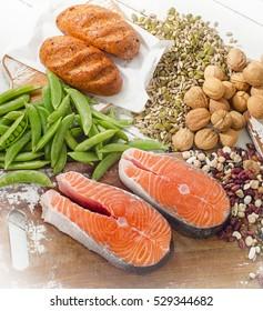Foods Highest in Vitamin B1. Healthy diet food. Flat lay
