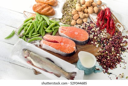 Foods Highest in Vitamin B1. Healthy eating. View from above
