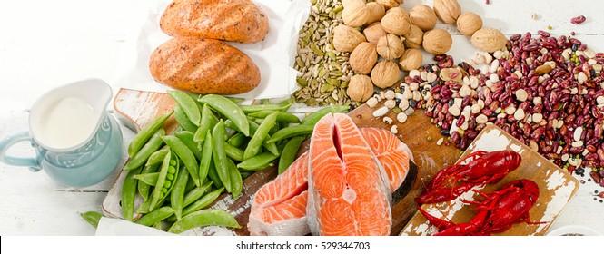Foods Highest in Vitamin B1. Healthy diet eating. Banner