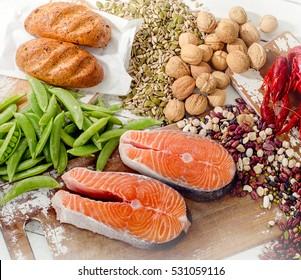 Foods Highest in Vitamin B1. Healthy food. Top view