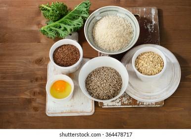 Foods highest in vitamin B1. Top view