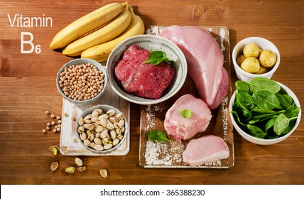 Foods Highest in Vitamin B6 on wooden table. Top view