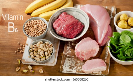 Foods Highest in Vitamin B6 on a wooden table. Top view