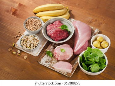 Foods Highest in Vitamin B6 on a wooden background. Top view