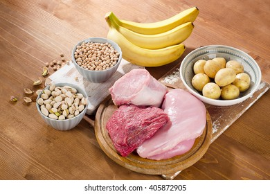 Foods Highest in Vitamin B6 on  wooden board. Healthy eating