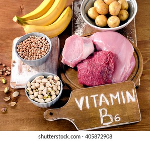 Foods Highest in Vitamin B6 on a wooden board. Healthy eating