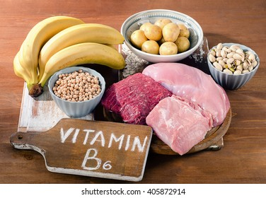 Foods Highest in Vitamin B6 on wooden board. Healthy eating. Top view