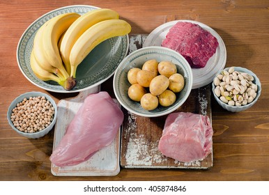 Foods Highest in Vitamin B6 on wooden board. Healthy food. Top view