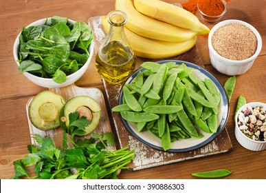 Foods highest in Vitamin K. Top view