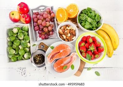 Foods rich in antioxidant. Healthy diet concept.