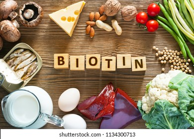 Foods rich in Biotin. Foods as liver, eggs, cheese, sardines, soybeans, milk, cauliflower, green beans, mushrooms, peanuts, walnuts and almonds on wooden table