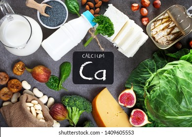 Foods rich in calcium. Healthy diet. Top view