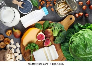 Foods rich in calcium. Healthy diet. Top view