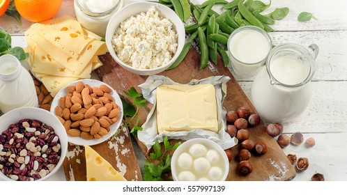 Foods rich in calcium. Healthy diet food. Top view