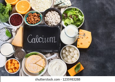 Foods rich in calcium. Healthy food. Top view with copy space