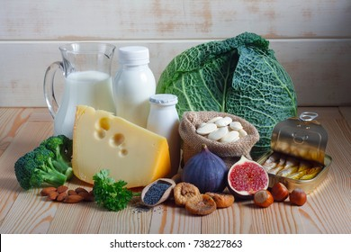 Foods rich in calcium such as sardines, bean, dried figs, almonds, hazelnuts, parsley leaves, blue poppy seed, broccoli, italian cabbage, cheese, milk, yoghurt