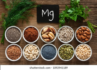 Foods rich in magnesium as pumpkin seeds, blue poppy seed, cashew nuts, almonds, sunflower seeds, buckwheat, cocoa, chia, pine nuts, brazil nuts, parsley leaves and dill
