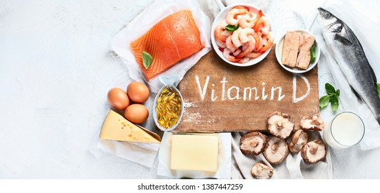 Foods rich in natural vitamin D. Balanced diet nutrition. Healthy eating concept. Panorama, banner with copy space