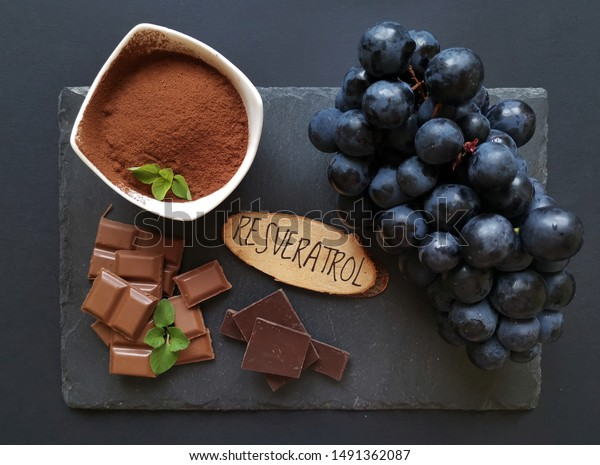 Foods Rich Resveratrol Resveratrol Powerful Antioxidant Food And Drink Stock Image 1491362087