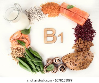 Foods rich in vitamin B1(Thiamine). Top view