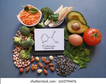 Foods rich in vitamin B3 (niacin, nicotinic acid) with structural chemical formula of niacin molecule. Natural sources of vitamin B3: avocado, nut, spinach, bean, broccoli, egg, tomato, chicken breast