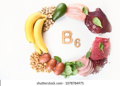 Foods rich in  Vitamin B6 (Pyridoxine). Healthy food concept. Top view