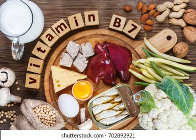 Foods rich in vitamin B7 (Biotin). Foods as liver, eggs yolk, yeast, cheese, sardines, soybeans, milk, cauliflower, green beans, mushrooms, peanuts, walnuts and almonds on wooden table