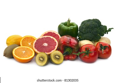 Foods rich in Vitamin C.  Includes broccoli, potatoes, tomatoes, bell peppers, grapefruit, kiwi fruit, oranges and lemons.