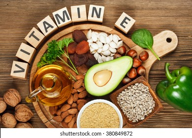 Foods rich in vitamin E such as wheat germ oil, dried wheat germ, dried apricots, hazelnuts, almonds, parsley leaves, avocado, walnuts, pumpkin seeds, sunflower seeds, spinach and green paprika