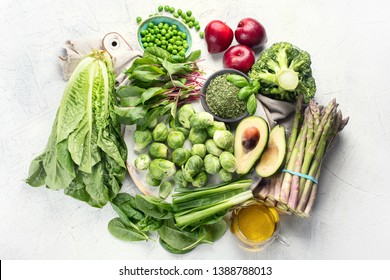 Foods rich in vitamin K. Top view