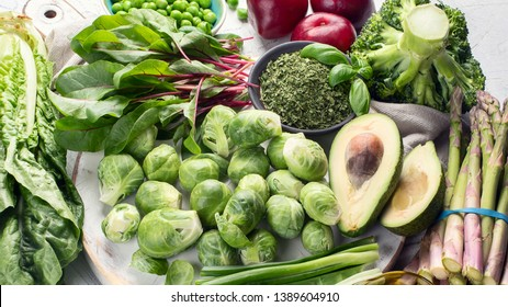 Foods rich in vitamin K. Top view