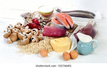 Foods of Vitamin B12 (Cobalamin). Healthy eating. View from above