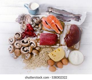 Foods of Vitamin B12 (Cobalamin). Healthy diet eating. Top view