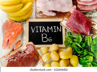 Foods with Vitamin B6(Pyridoxine). Healthy eating. Top view