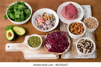 Foods with Zinc on wooden table. Top view