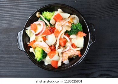 Foodstuffs of sea food hot pot