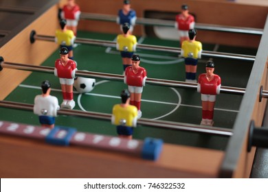 Foosball table detail. Ok for toys and christmas gift concept.