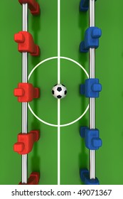 foosball table with red and blue players