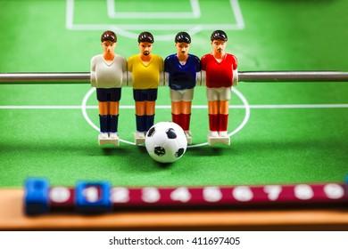 foosball table soccer football players