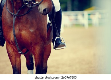 Foot of the athlete in a stirrup astride a horse