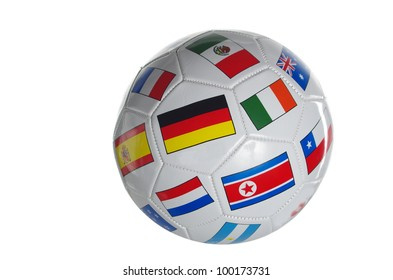 foot ball with flags of states on white background